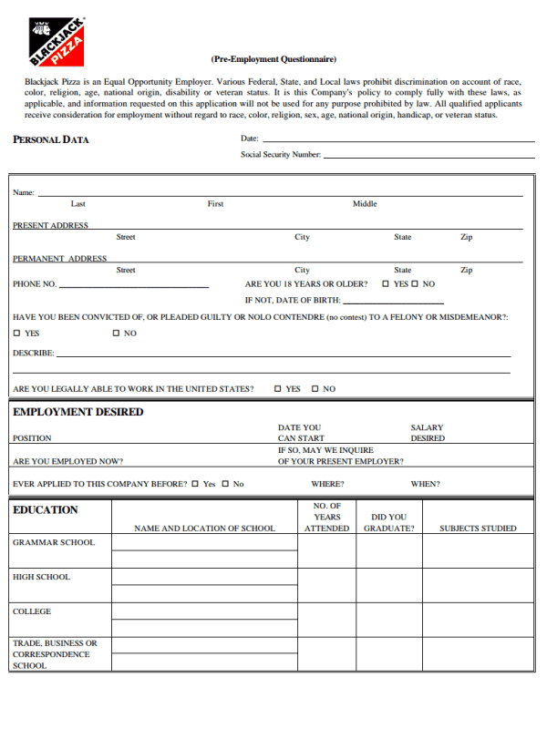 Blackjack Pizza Job Application Form