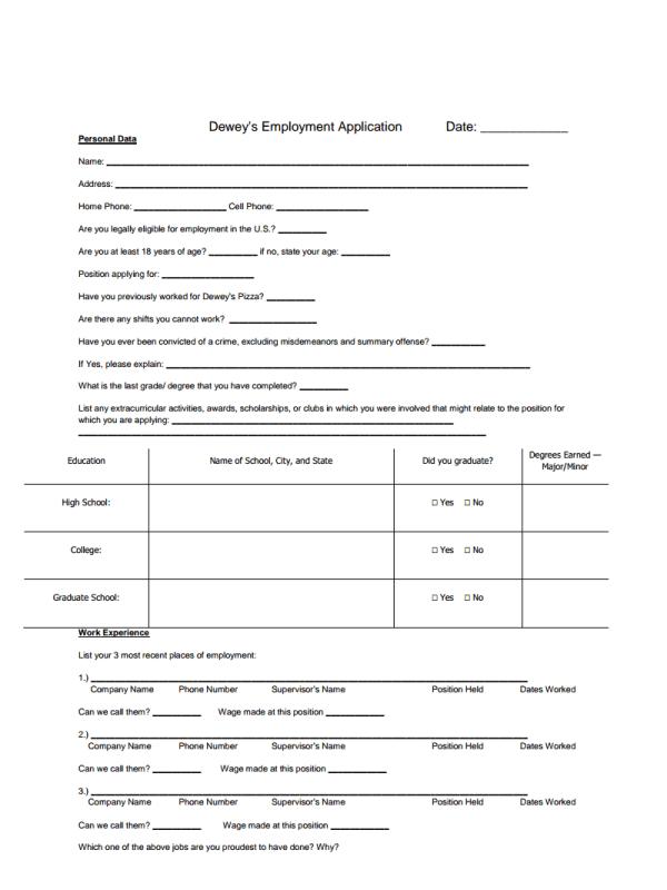Dewey's Pizza Job Application Form