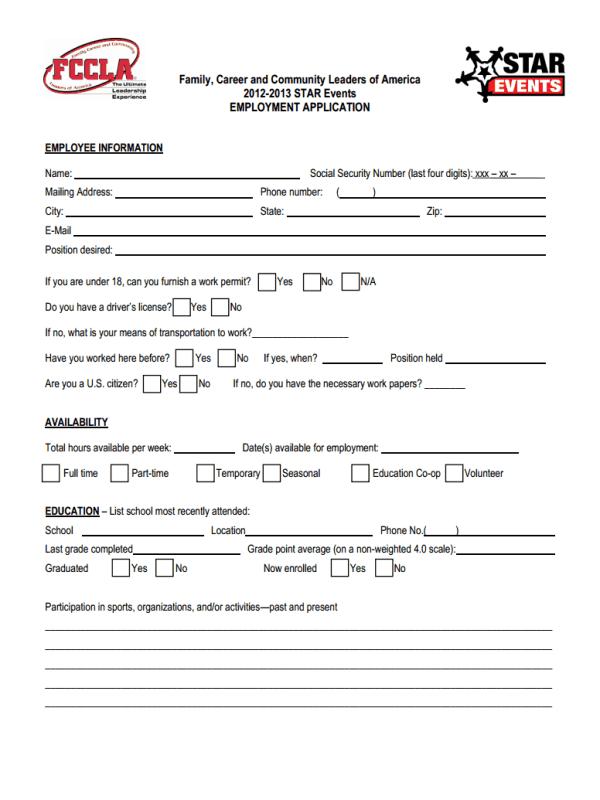 FCCLA Job Application Form