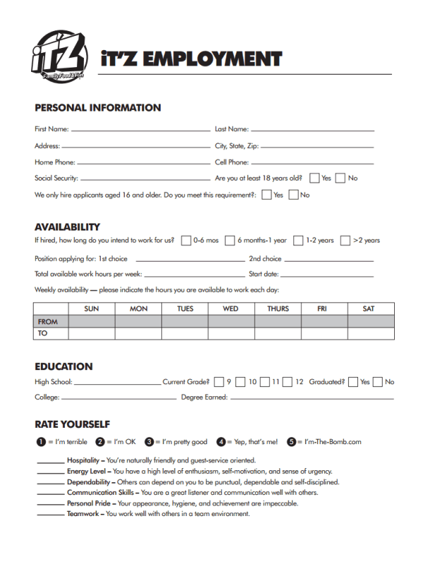 ITZ USA Job Application Form