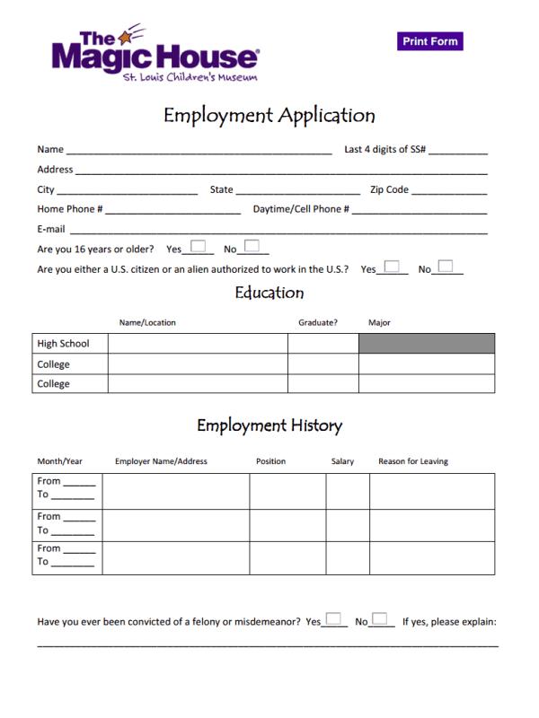 Magic House Job Application Form