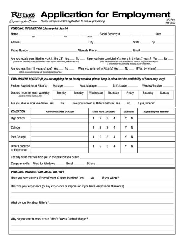 Ritters Job Application Form