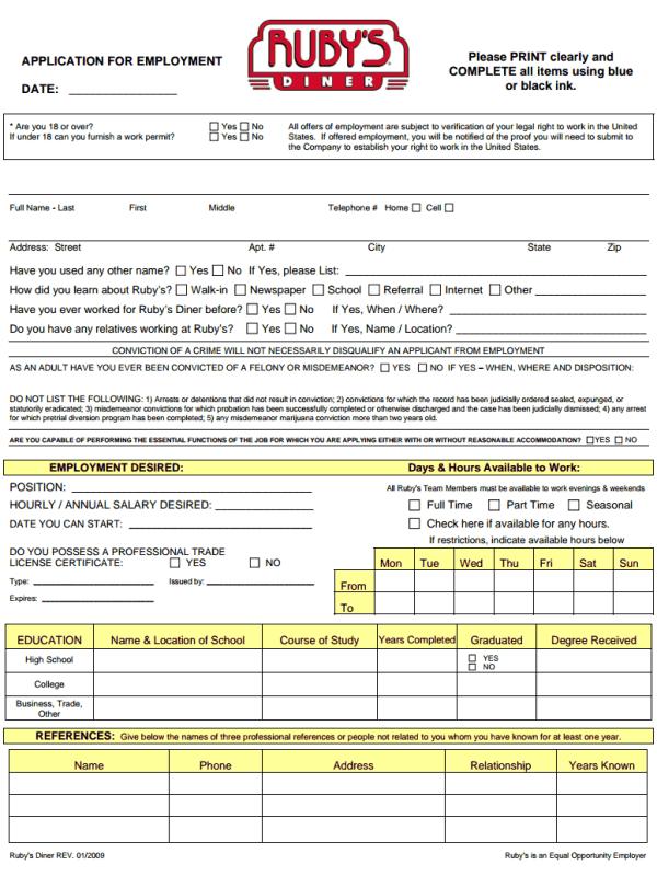 Ruby's Diner Job Application Form