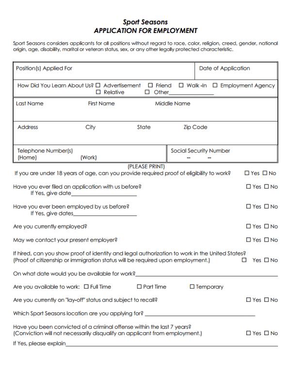Sport Seasons Job Application Form