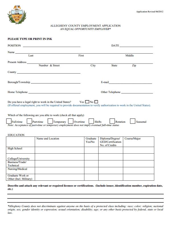 Allegheny County Job Application Form