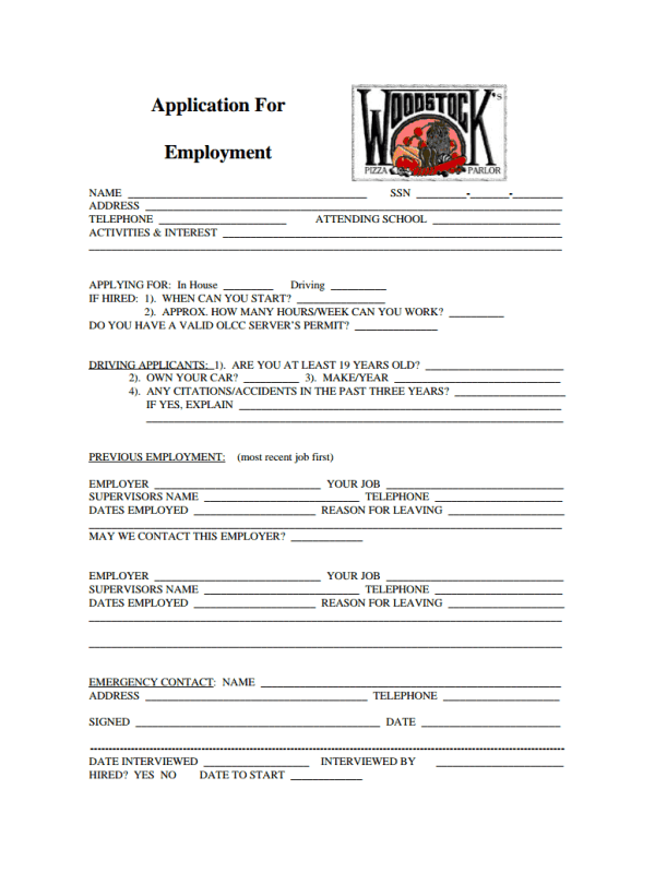 Woodstock's Pizza Job application form