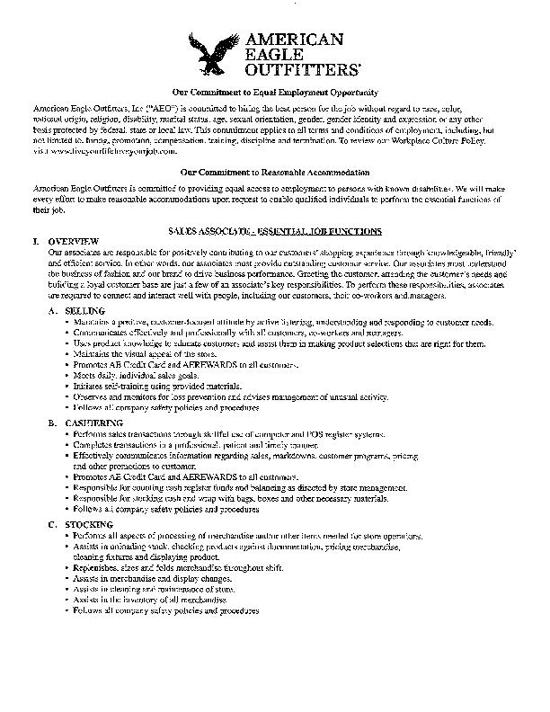 American Eagle credit card application form