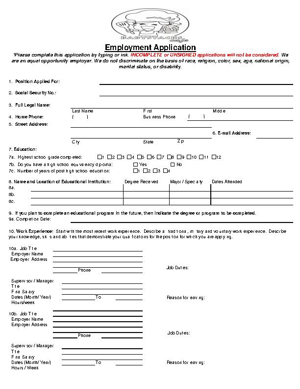 Babystacks Cafe Job Application Form