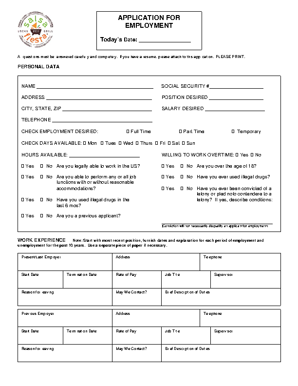 Fiesta Grill Job Application Form