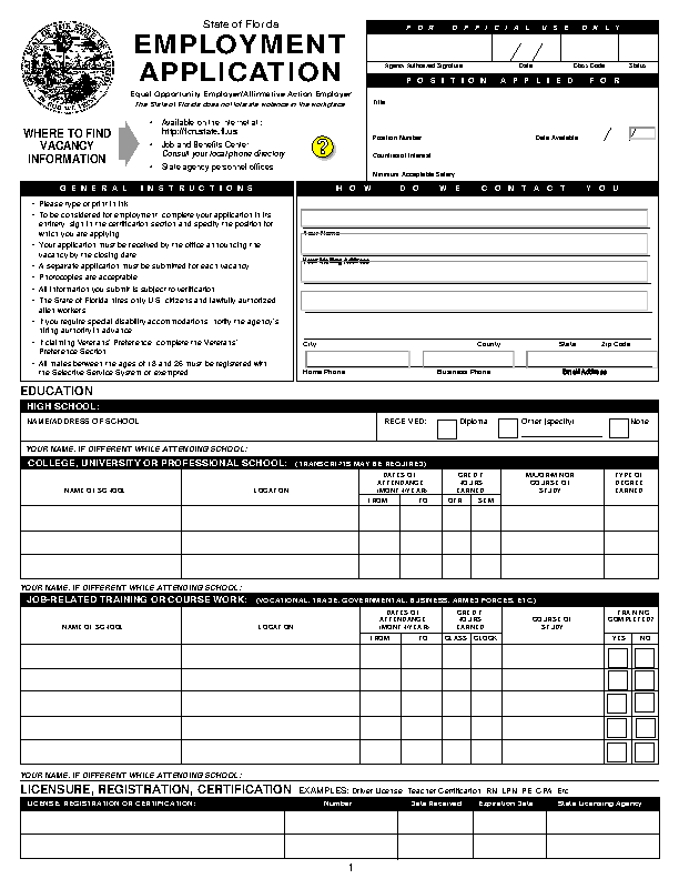 Florida State Job Application Form
