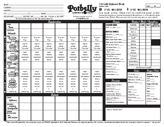 Potbelly fax order form PDF