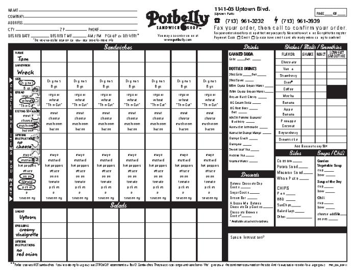 Potbelly fax order form PDF