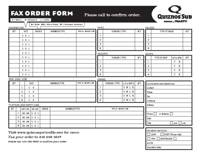 Quiznos Fax order form