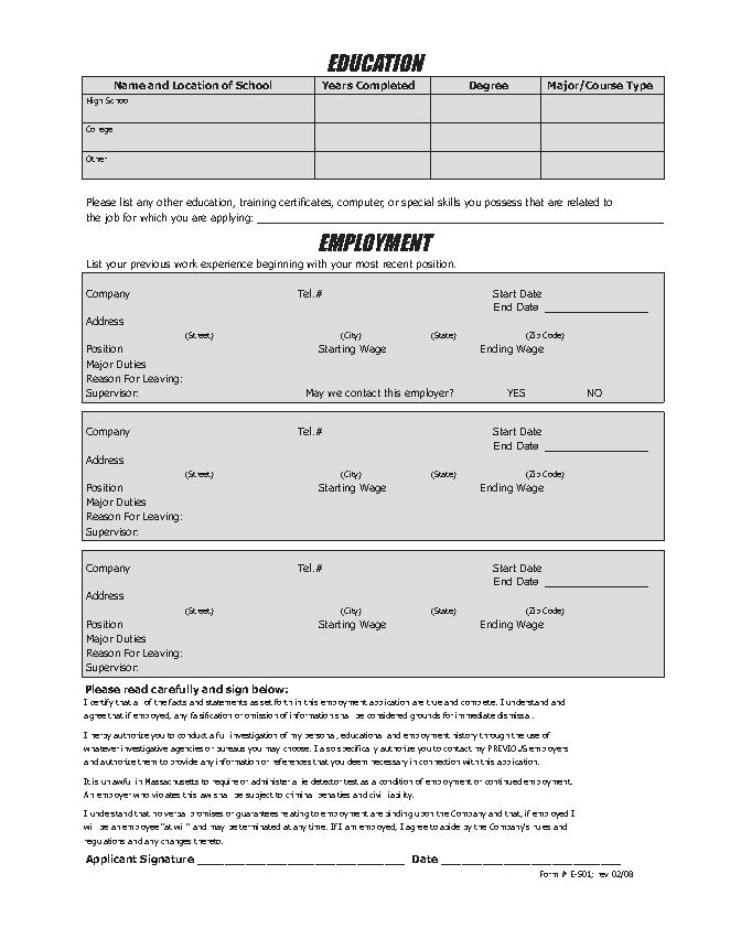 Showcase Cinemas Job Application Form