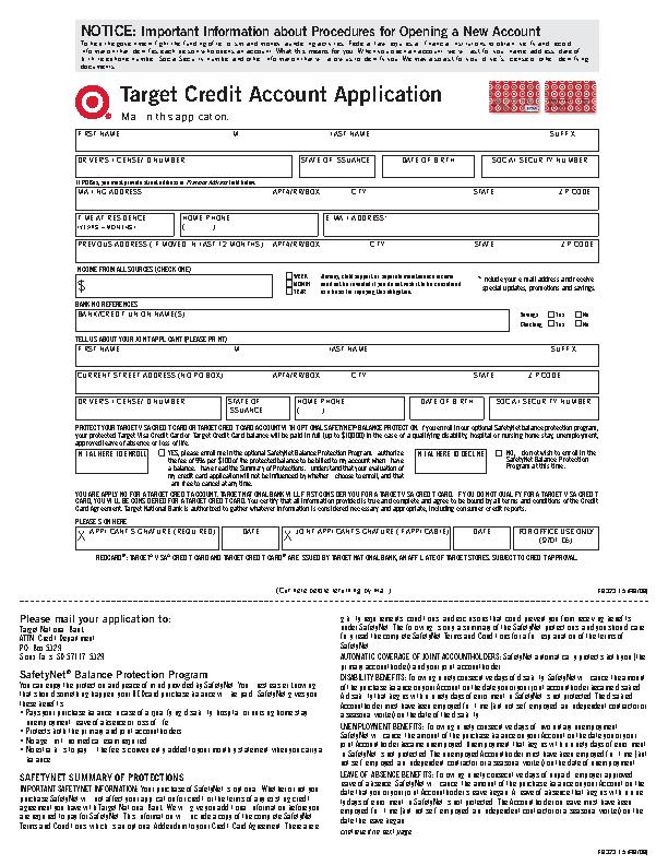 Target Credit Card Application Form