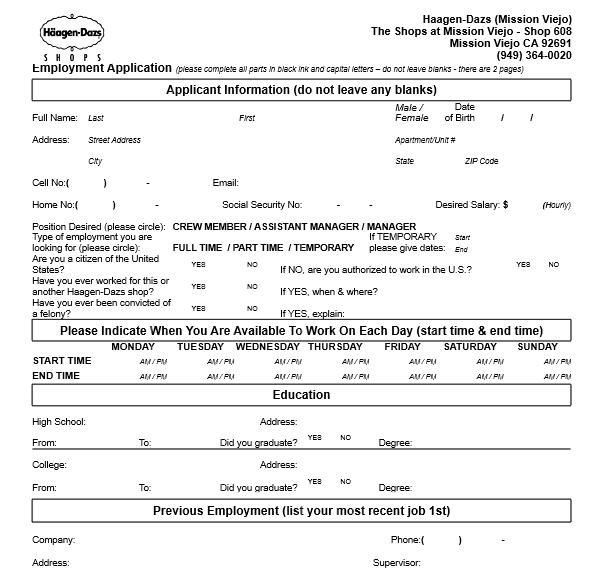 Haagen Dasz Job Application Form
