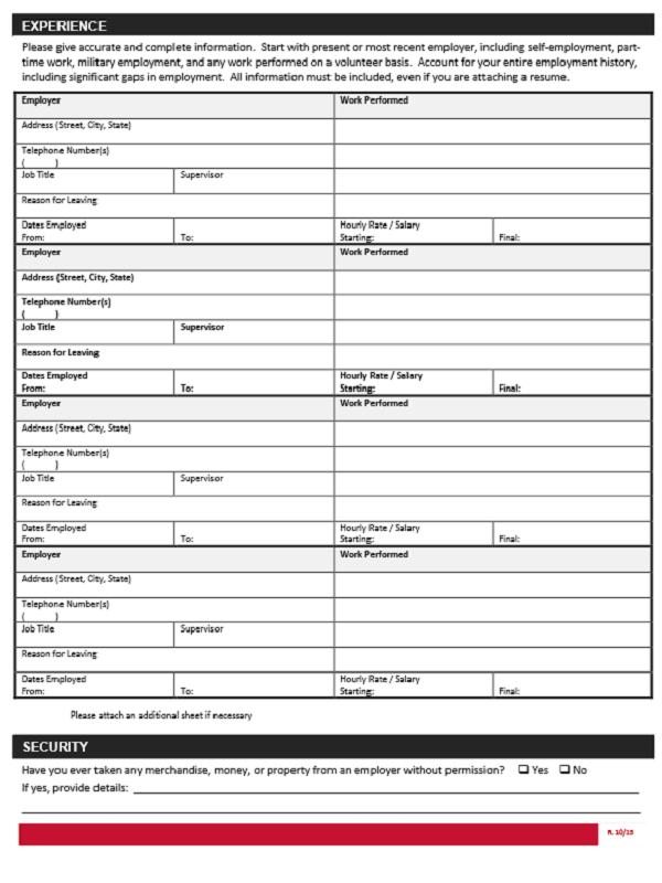 Home Goods job application form