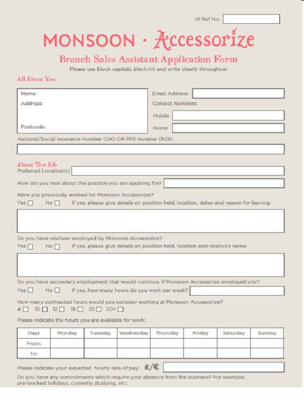 Monsoon Job Application Form