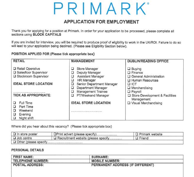 Primark Job Application Form