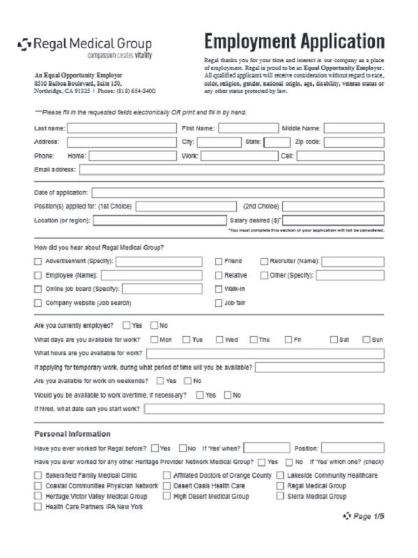 Regal Medical Job Application Form