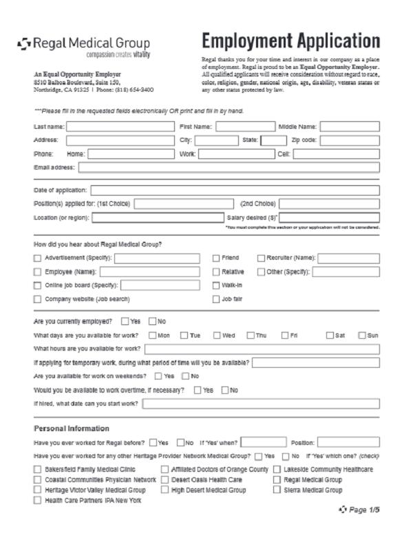 Regal Medical Job Application Form