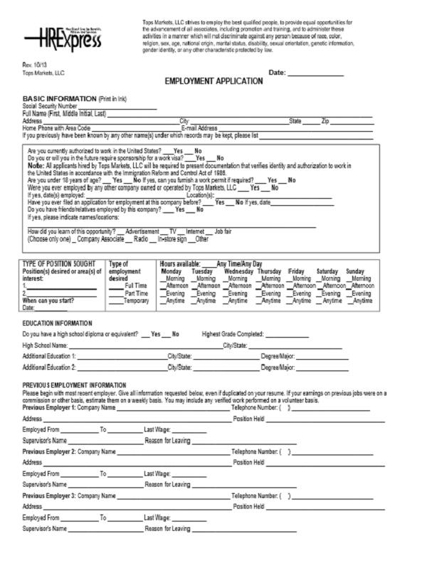 Tops Job Application Form