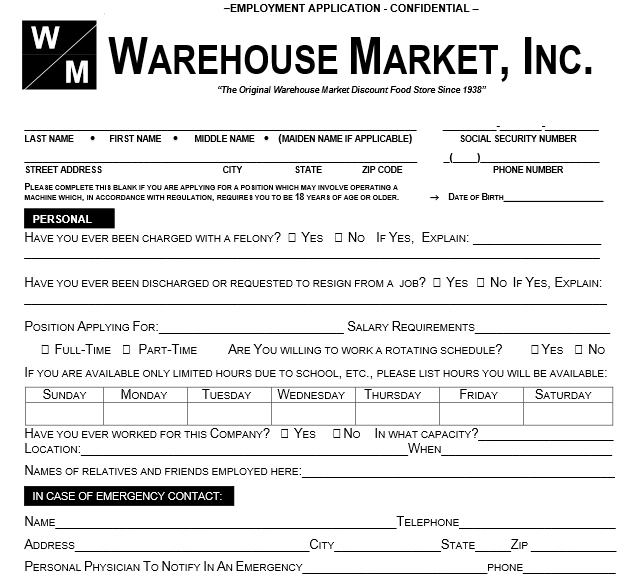 Warehouse Market Job Application Form