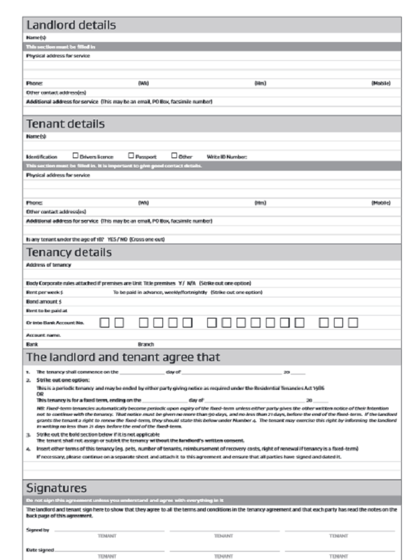 Tenancy Agreement Forms