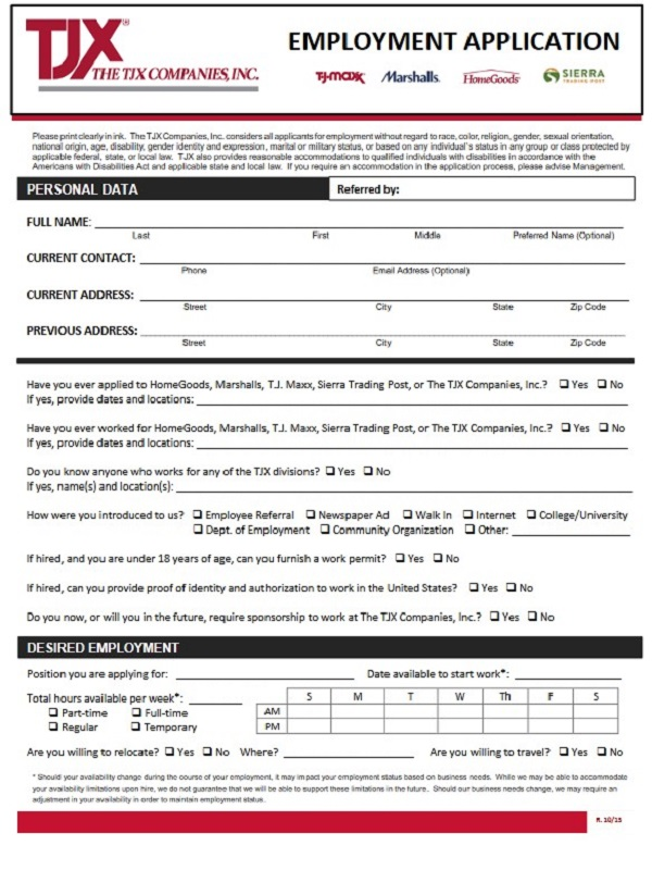 Marshalls Job Application Form