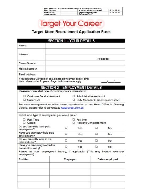 Target Job Application Form