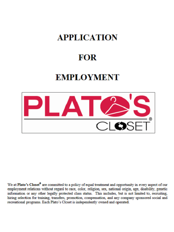 Plato's Closet Job Application Form