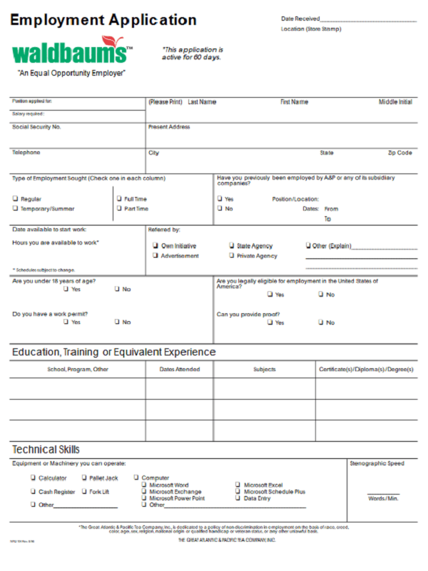 Waldbaums Job Application Form