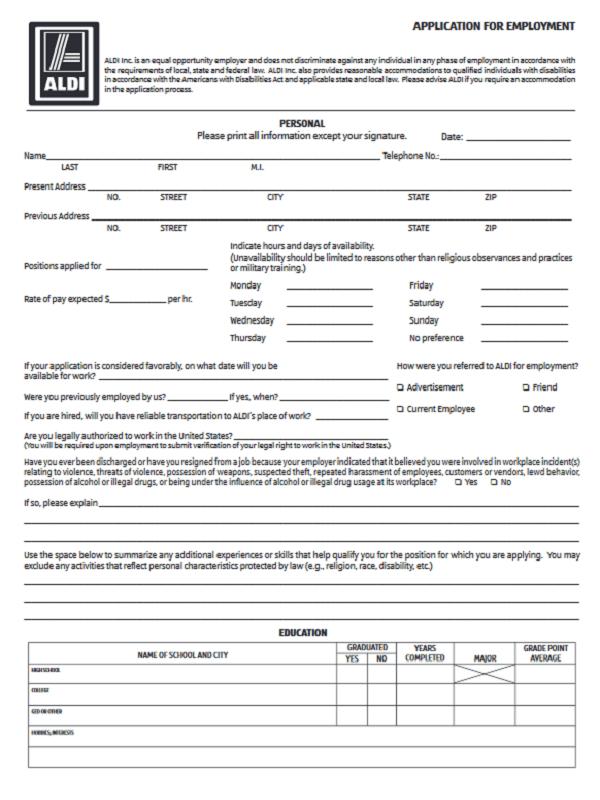 aldi job application form