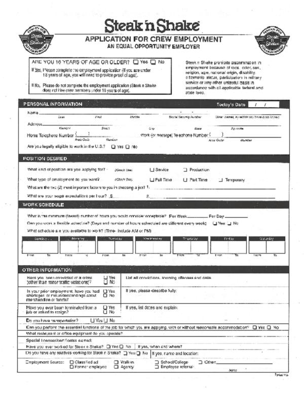 steak and shake job application form