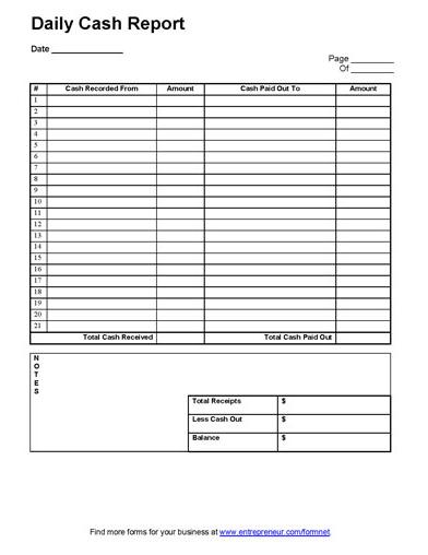 Daily cash sheet