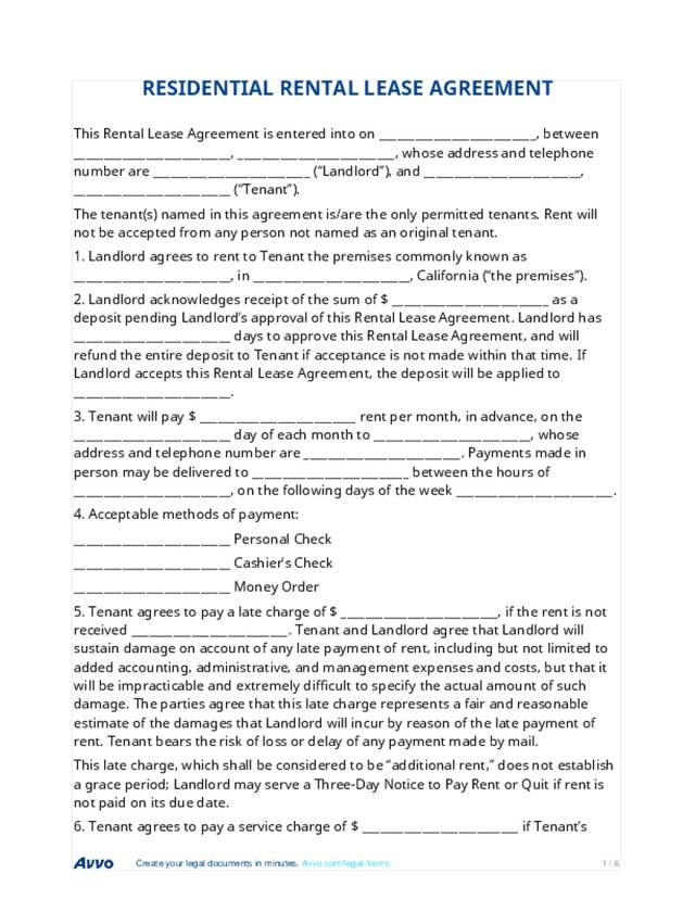Residential Lease Agreement Regulations