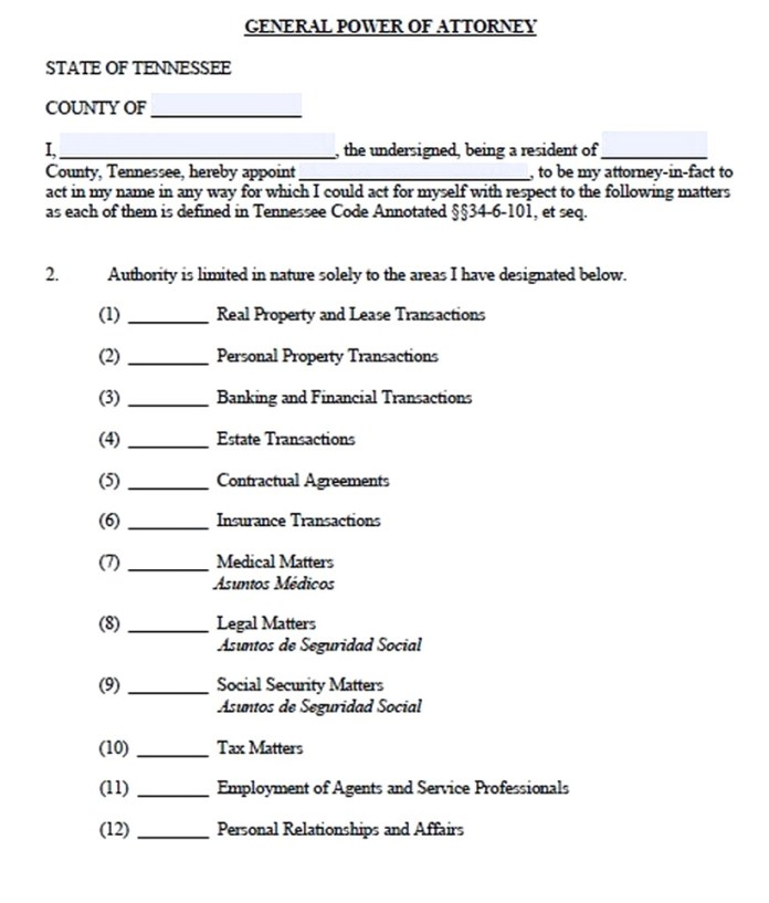 A Power of Attorney Form