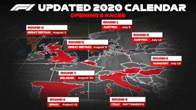 Gráfico de calendário atualizado em 2020