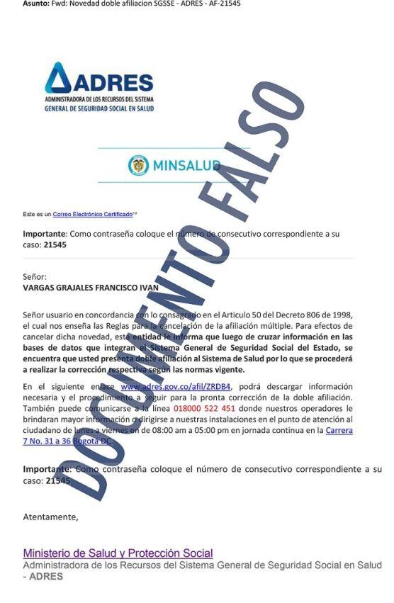 Documento Fraudulento ADRES - Formula Medica