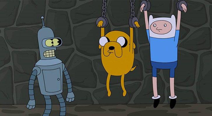Bender se encuentra con Finn y Jake en el crossover entre 'Hora de aventuras' y 'Futurama'
