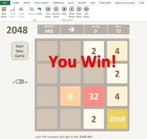 Jouer à 2048 sur Excel