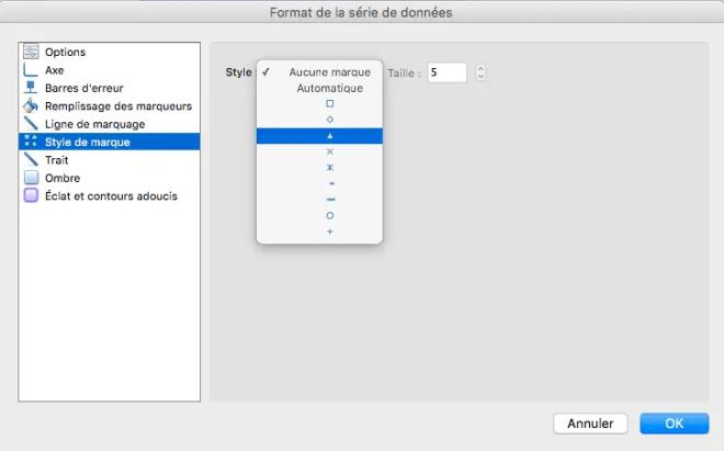 Changer le style des marques de points sur Excel