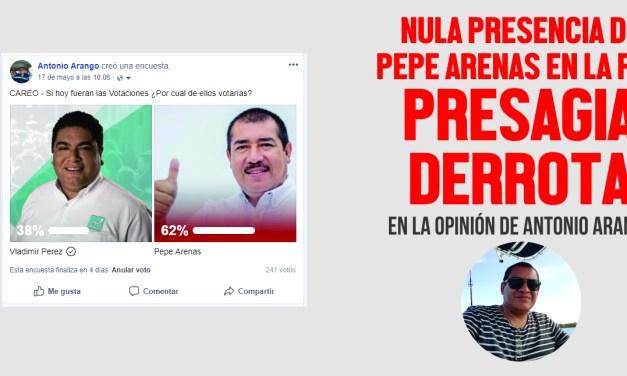 NULA PRESENCIA DE PEPE ARENAS EN LA RED PRESAGIA DERROTA