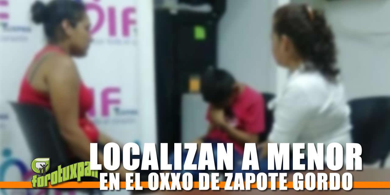 Localizan a Menor en el OXXO de Zapote Gordo