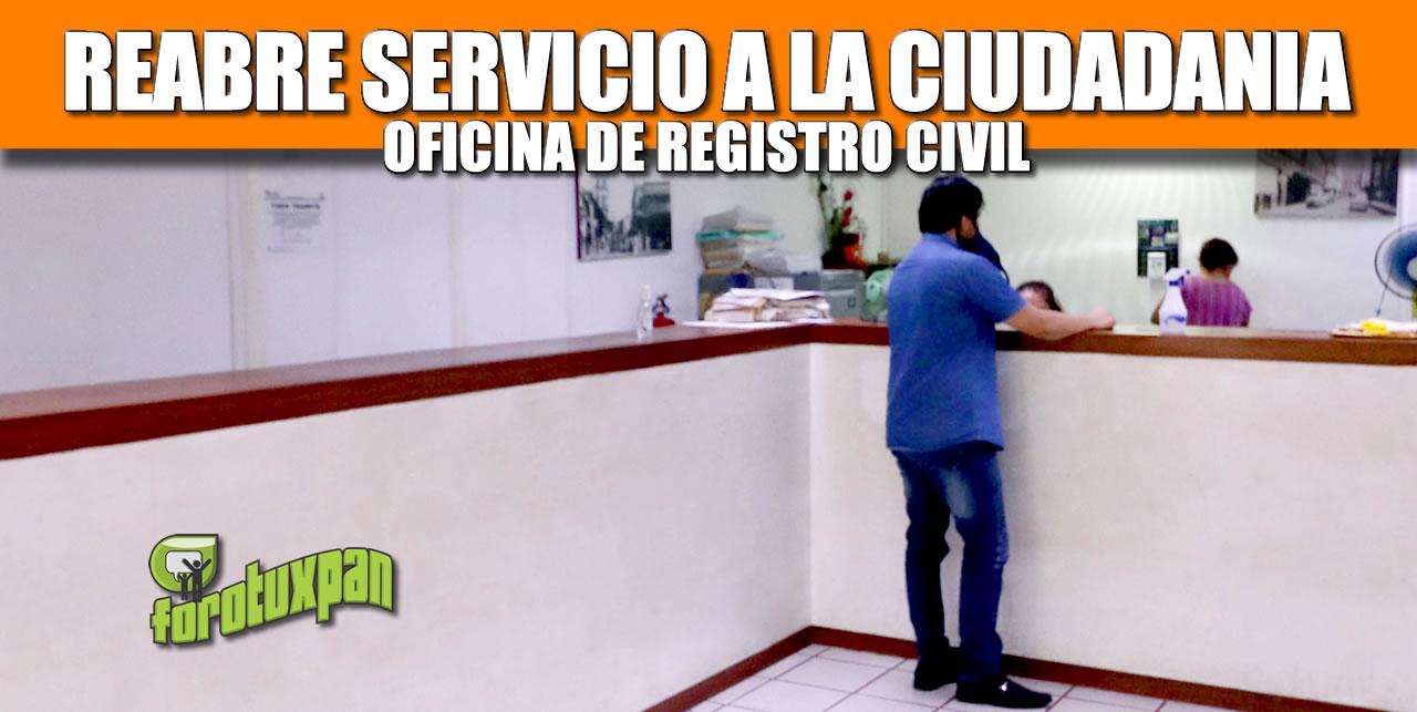 REABRE SERVICIO A LA CIUDADANÍA LA OFICINA DEL REGISTRO CIVIL EN TUXPAN