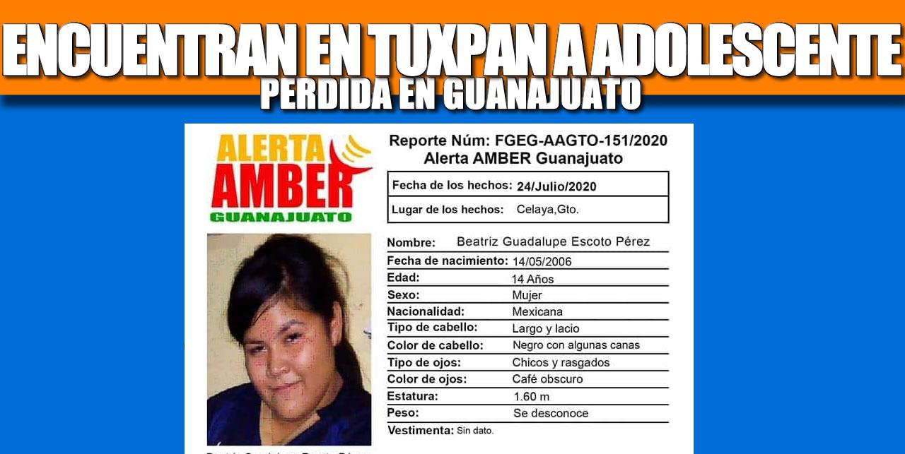 Encuentran en Tuxpan a adolescente perdida en Guanajuato