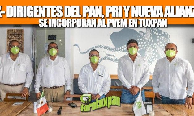 Ex dirigentes del PAN, PRI y Nueva Alianza se incorporan al PVEM en Tuxpan
