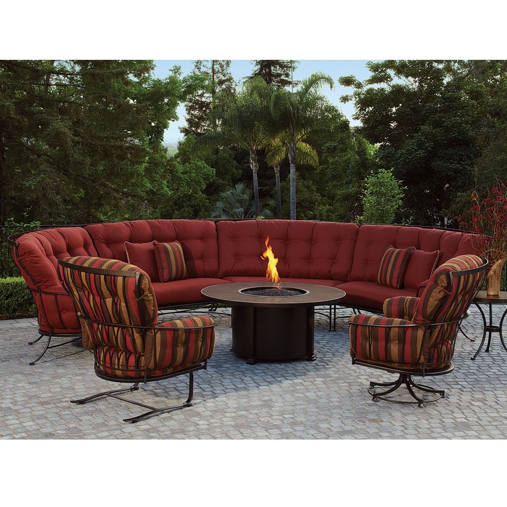 Monterra Curved Outdoor Sectional Set With Fire Pit Table