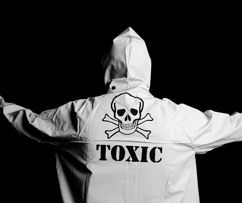 """person in """"toxic"""" jacket - signs of a toxic relationship"""