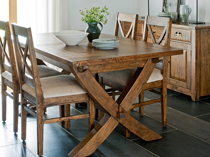 X Leg Extending Ding Table And 6x Dining Chairs From The